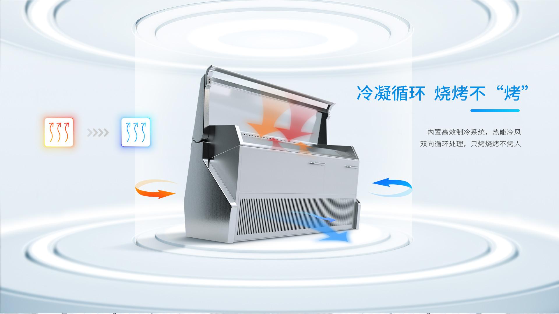 壹指蓝烧烤机,内置高效制冷系统,热能冷风双向处理.只烧烤不烤人