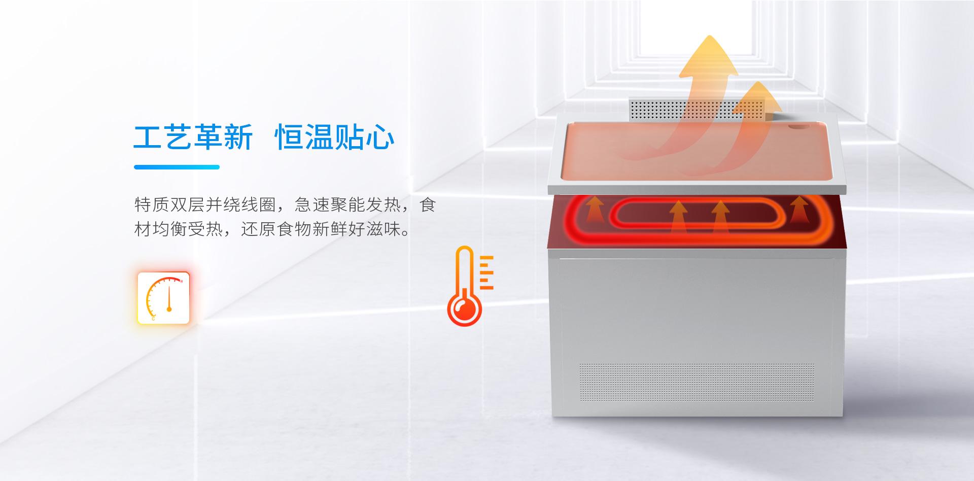 壹指蓝零排放铁板烧,特质双层并绕线圈,急速聚能发热,食材均衡受热.